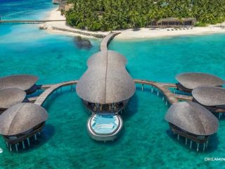 Aerial view of Iridium Spa at St Regis Vommuli Maldives