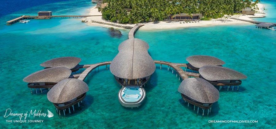 Aerial view of Iridium Spa at St Regis Vommuli Maldives