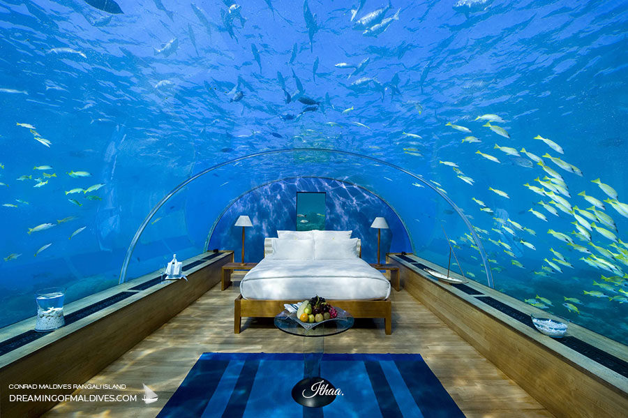 ITHAA underwater restaurant maldives conrad turned into a bedroom