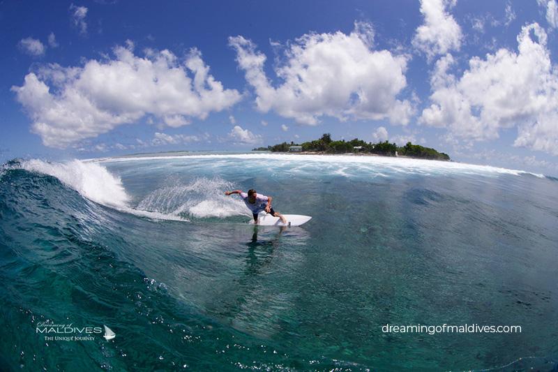 Surfing in Maldives. Jailbreaks Spot
