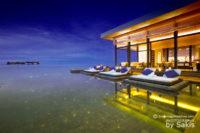 "An Exclusive Photo of Jumeirah Dhevanafushi Maldives : View from the ""Ocean Pearls"" Johara Restaurant Infinity Pool towards the main Island"