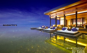 "An Exclusive Photo of Jumeirah Dhevanafushi Maldives : View from the ""Ocean Pearls"" Johara Restaurant Infinity Pool towards the main Island"