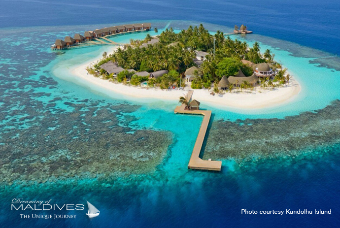 Kandolhu best resort for snorkeling in Maldives. Aerial view
