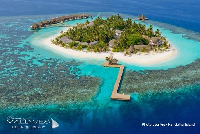 Kandolhu best resort for snorkeling in Maldives. Aerial view