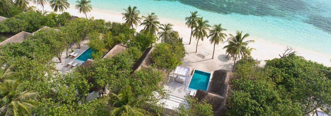 Kanuhura Maldives Villas. Beach Villas and Water Villas Aerial View