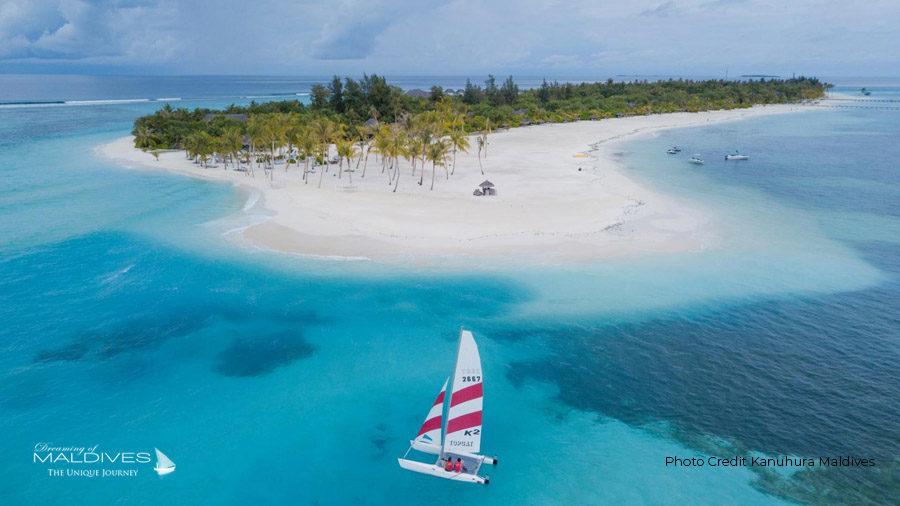 Kanuhura Maldives Aerial View. The main Island
