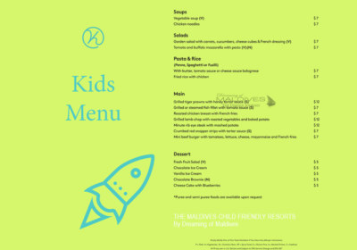 kids menu child friendly resort kandima Maldives