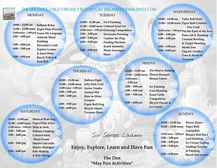 Kids Club Program Six Senses Laamu Maldives