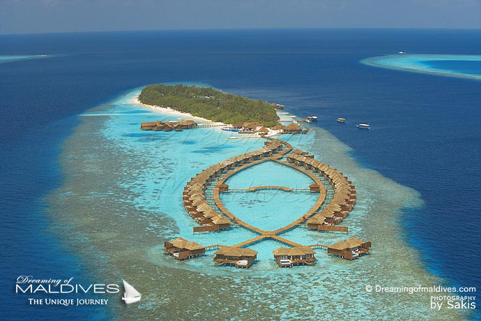 Lily Beach best resort for snorkeling in Maldives. Aerial View