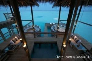 living area world largest water villa Gili Lankanfushi Maldives