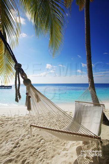 Listen to lounge Music on a hammock in Maldives