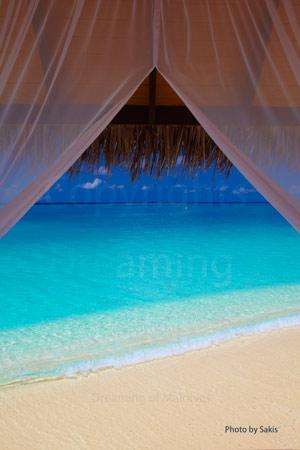 Maldives Resort with a lagoon view