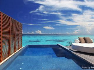 Maldives Resort Water Villa with a lagoon View