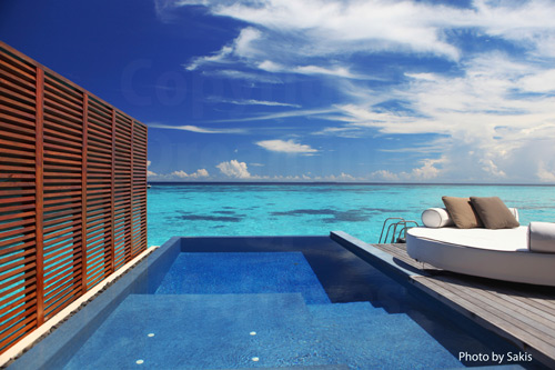 Maldives Resort Water Villa with a lagoon View