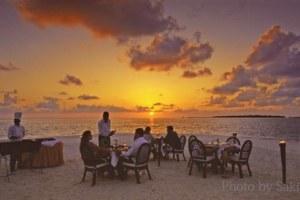 Sunset diner in Maldives