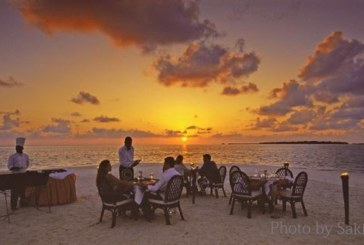 Sunset diner in Maldives