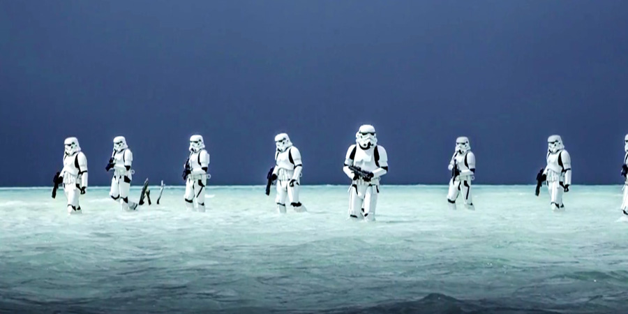 Shoretroopers walking in lagoon during Star Wars Rogue One filming in Maldives Laamu Atoll