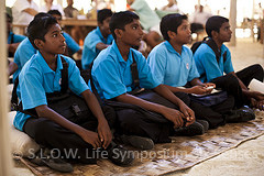 Maldivian students listening to the President Mohamed Nasheed at Slow life Green symposium at soneva Fushi maldives 2011