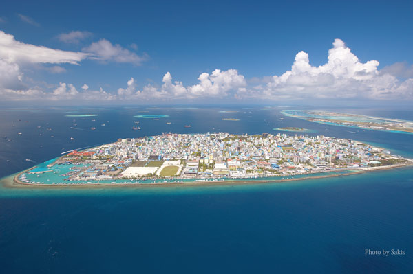 Aerial view of Male and Male international airport Maldives