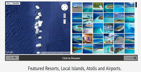 explore the Maldives with our new interactive photo map ! Presented with photos, this new map features all resorts, all airports, Atolls and Maldives Key Islands.