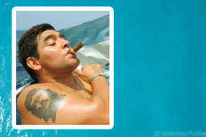 The Football Golden Kid, Diego Maradona, spends some holidays in the Maldives
