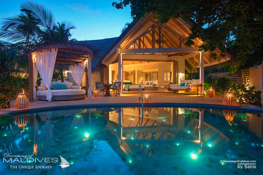 Milaidhoo Maldives Beach Pool Villa at Night