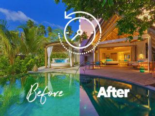 Milaidhoo Maldives Beach Pool Villa Views at Day and at Sunset