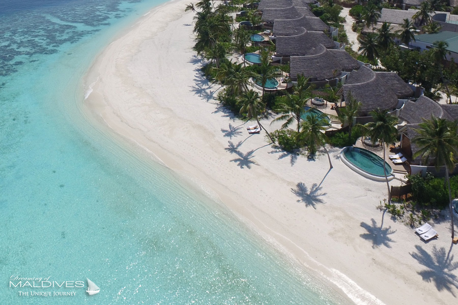 Milaidhoo Maldives Beach Pool Villas aerial view