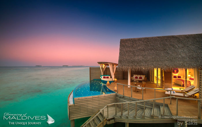 Milaidhoo Water Pool Villas at Sunset