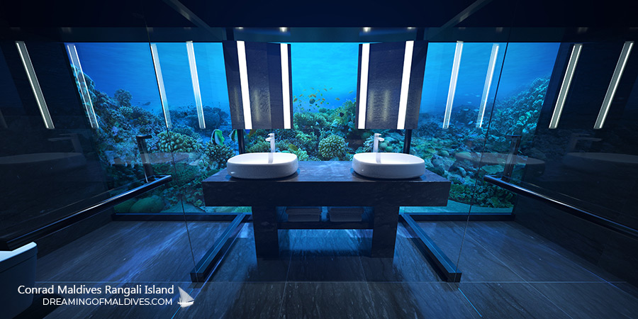 The undersea suite bathroom that sits five metres (16.4 feet) below sea level