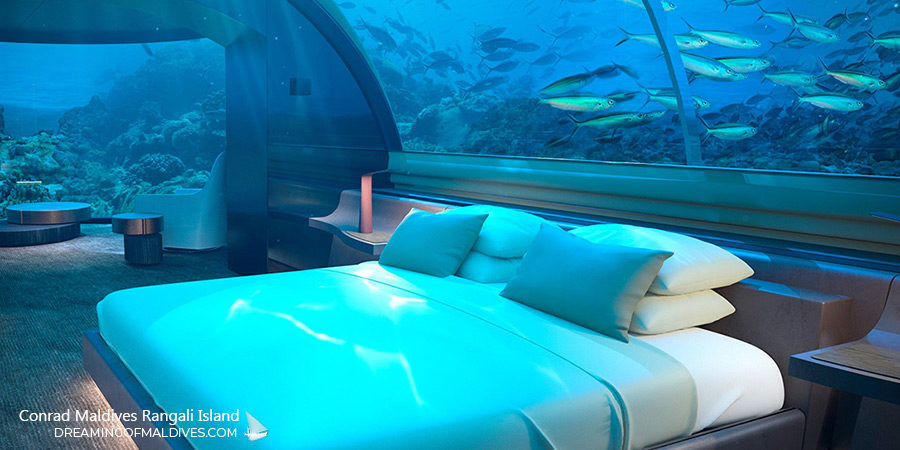 Below the Sea Bedroom at The Muraka Underwater Residence Conrad Maldives