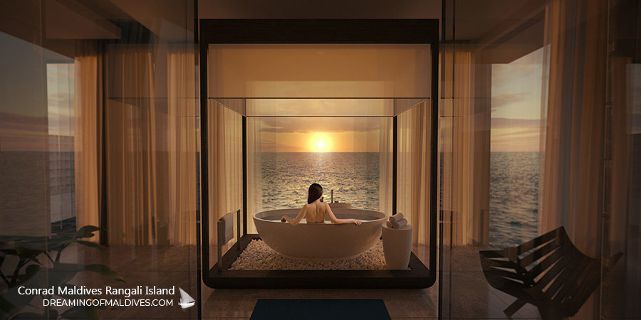 The Muraka Underwater Residence. The breathtaking Bathroom above the Sea Level