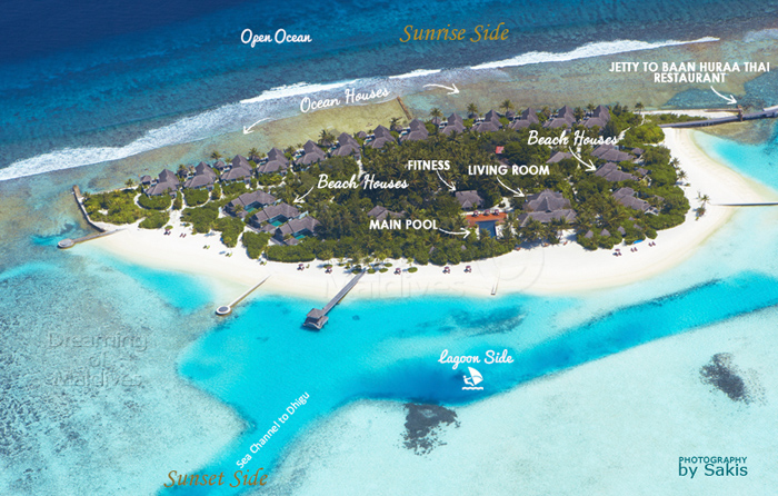 Naladhu Maldives Resort Aerial Map