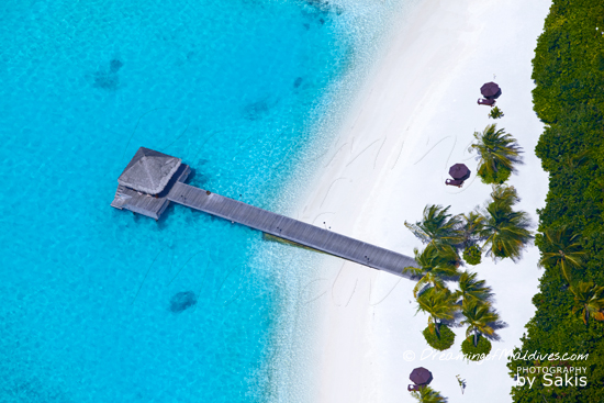 Naladhu Maldives - Photo Gallery. The arrival Jetty - Aerial View