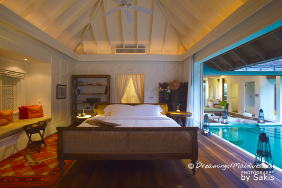 Naladhu Maldives - Photo Gallery.  The Houses , the bedroom and the Swimming Pool