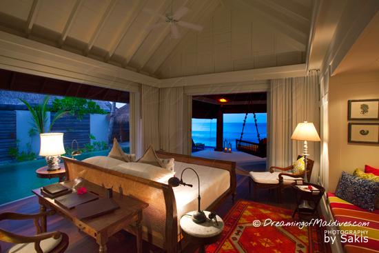 Naladhu Maldives - Photo Gallery. The Ocean Houses , the bedroom and the Swimming Pool at Sunset