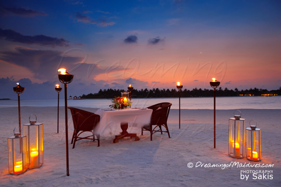 Naladhu Maldives - Photo Gallery. Private Dinner on the Beach