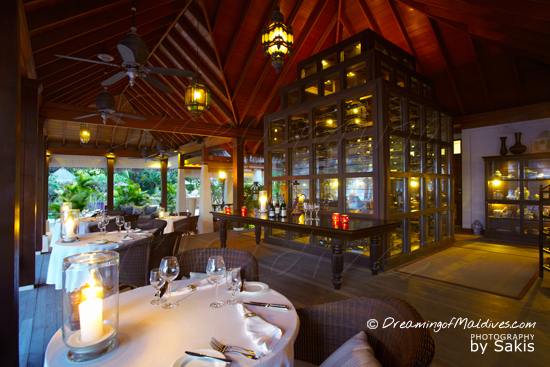 Naladhu Maldives - Photo Gallery. The Living Room Restaurant and the Wine Cellar