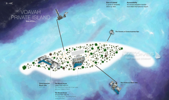 Map of Fours seasons Voavah Private Island