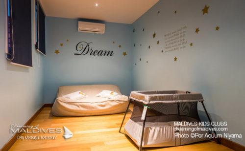 Per Aquum Niyama Kids Club Baby Resting Room (The Best Child-friendly Resorts in Maldives, all the Kids-clubs. Part 1)