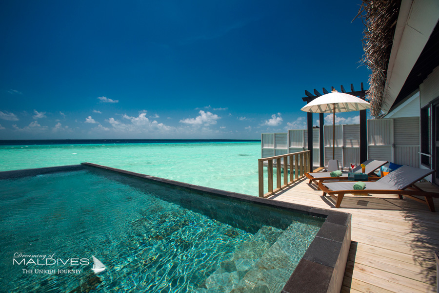 Ozen at Maadhoo Maldives. Water Villa Deck at Day