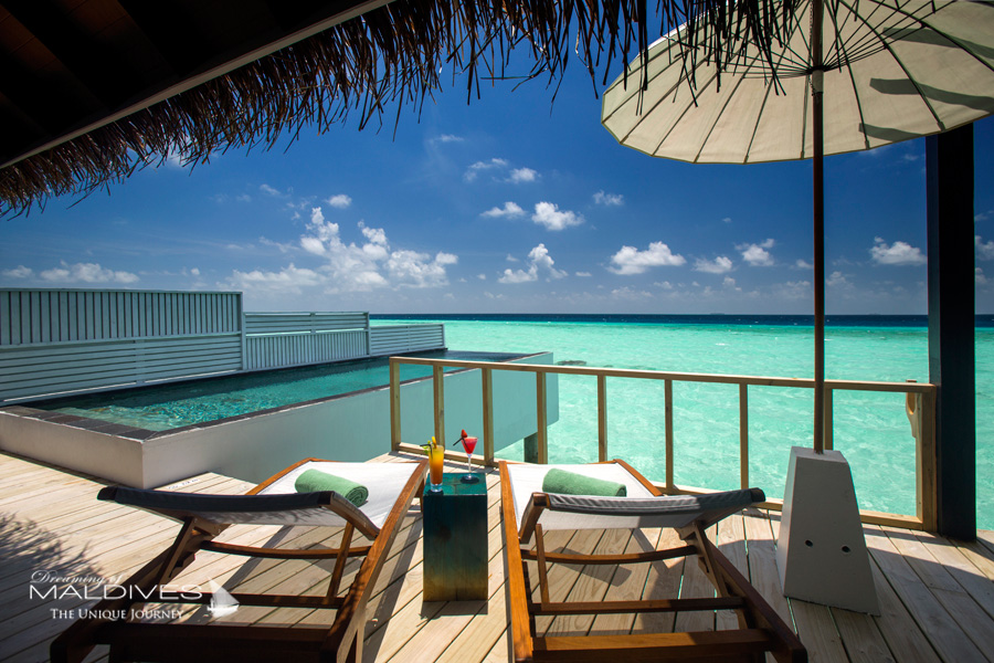 Ozen at Maadhoo Maldives.View from a Water Villa