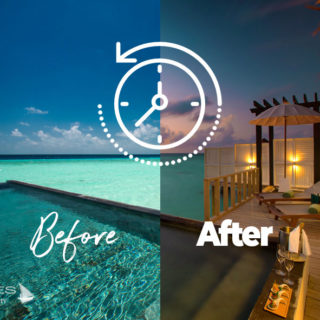 OZEN at Maadhoo Wind Villa Before the Sunset and at Sunset