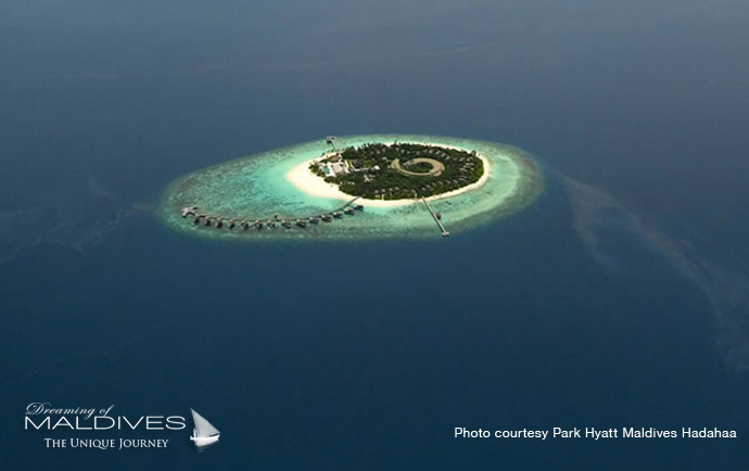 Park Hyatt Hadahaa best resort for snorkeling in Maldives. Aerial View