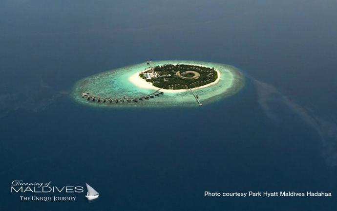 Park Hyatt Hadahaa best resort for snorkeling in Maldives. Aerial View