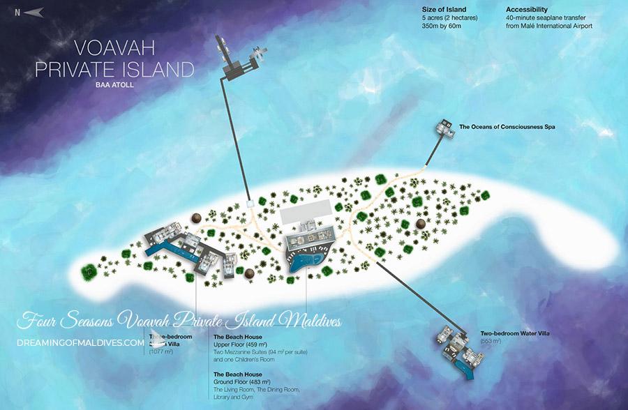 A Super Private Island in Maldives Four Seasons Voavah. Island Map