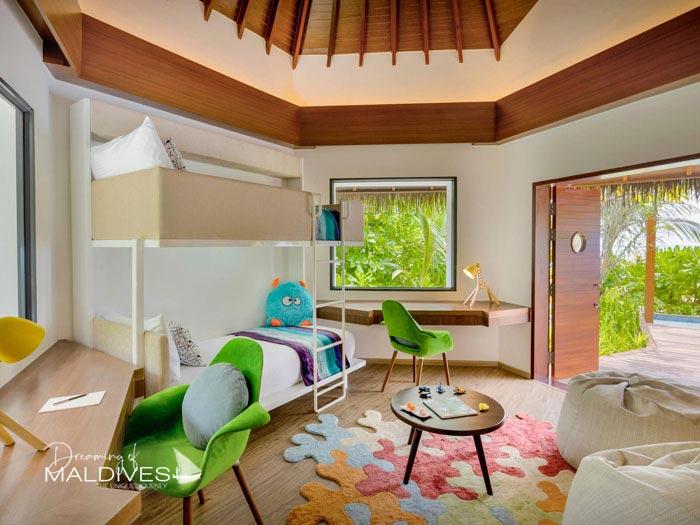 Pullman Maldives Maamutaa Resort Kids Bedroom in Family Villa