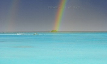A photo of a Rainbow over a Maldives Island for 2011