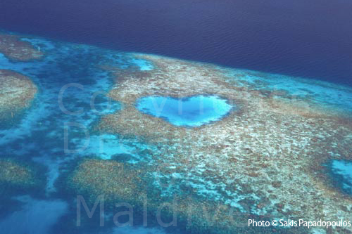 Aerial photo of a Heart-shaped Reef in Maldives