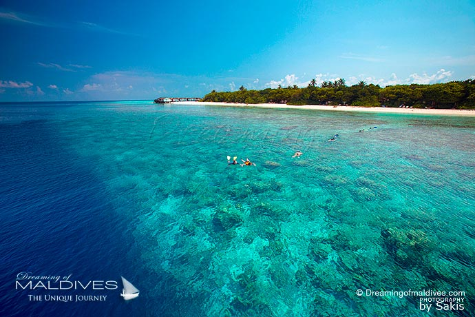 Reethi Beach best resort for snorkeling in Maldives. Aerial View